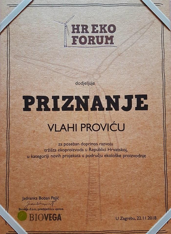 Priznanje OPG Vlaho Provic